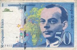 BILLETE DE FRANCIA DE 50 FRANCOS DEL AÑO 1993  (BANKNOTE) ST. EXUPERY - 1992-2000 Last Series