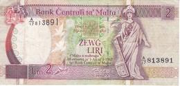 BILLETE DE MALTA DE 2 LIRAS DEL AÑO 1989  (BANKNOTE) - Malte