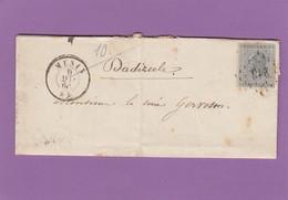 NO 17 SUR LETTRE DE MENIN POUR MR. LE CURE. - 1865-1866 Linksprofil