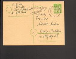 Bizone 10 Pfg.Ganzsache P 7 Holstentor V.1951 A.Nürnberg Mit Serienstempel Zustellung Durch Eilboten Beschleunigt - Bizone