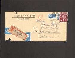 Bizone 60 Pfg.Bauten Mit NO A.Einschreibebrief-Vorderseite V.1950 A. Münster (Westf) - Bizone