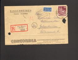 Bizone 60 Pfg.Bauten Mit NO A.Einschreibebrief-Vorderseite V.1949 A. Münster (Westf) Fa.Concordia - Bizone