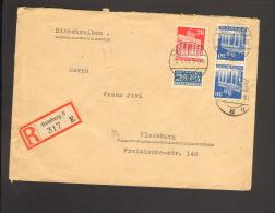 Bizone 2 X 30 U.20 Pfg.Bauten Mit NO A.Einschreibebrief V.1949 A. Hamburg 8, Einkreis-Stegstempel Ankunftstempel - Bizone