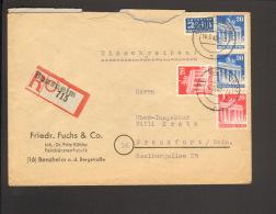 Bizone 2 X 30 U.2 X 20 Pfg.Bauten Mit NO A.Einschreibebrief V.1949 A. Bensheim,Ankunftstempel Fa.Fuchs Bürstenfabrik - Bizone