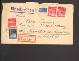 Bizone 8 U.3 X 24 Pfg.Bauten M.NO Geschnitten A.Einschreibebrief V.1949 A.Dachau,Ankunftstempel Fa.K.Botz Einkreis-Steg. - Bizone
