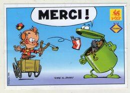 AUTOCOLLANT . STICKER .  DE KLEINE ROBBE . DUPUIS 1998 . LE PETIT SPIROU . TOME JANRY . TOURING . MET . PROPRETE - Stickers