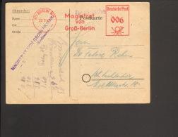 Absender-Frei-Stempel V.Magistrat Von Groß-Berlin 1949 Auf Ortspostkarte, Karte Hat Mittelbug - Gemeinschaftsausgaben