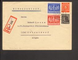 Alli.Bes.24,50 Pfg. Exportmesse Hannover,8 Pfg.Ziffer U.2 Pfg.Arbeiter A. Einschreibebrief 1948 A.Burgau, Ankunftstempel - Gemeinschaftsausgaben