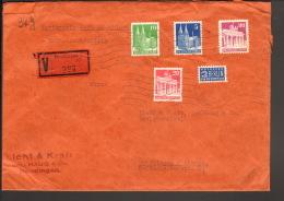 Bizone Wertbrief ü.150 DM 96 G M. 5,10,20 U.80 Pfg.Bauten U.NO 1950 Aus Reutlingen Ankunftstempel - Bizone
