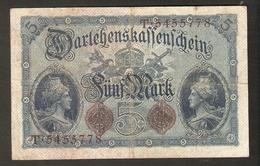 T. Germany German Empire Darlehenskassenschein 5 MARK 1914 - 7 Digital Serial T 5455778 - [ 2] 1871-1918 : Duitse Rijk