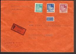 Bizone Wertbrief ü.100 DM 40 G M. 5,50 U.60 Pfg.Bauten U.NO 1950 Aus Reutlingen Ankunftstempel - Bizone
