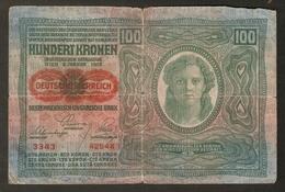 T. Austria Hungary 100 Kronen 1912 # 3343 / 42544 Osterreichisch Ungarische Bank Osterreich Banknote - Austria