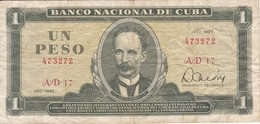 BILLETE DE CUBA DE 1 PESO DEL AÑO 1985 (BANK NOTE)  JOSE MARTI - Cuba