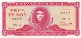 BILLETE DE CUBA DE 3 PESOS DEL AÑO 1985 EN CALIDAD EBC (XF) (BANKNOTE) CHE GUEVARA - Cuba