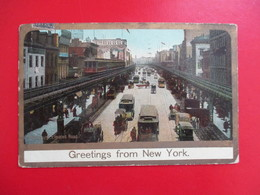 CPA ETATS UNIS GREETINGS FROM NEW YORK TRAMWAYS ATTELAGES - New York City