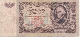 BILLETE DE AUSTRIA DE 20 SCHILLING DEL AÑO 1950 (BANKNOTE-BANK NOTE) - Austria