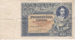 BILLETE DE POLONIA DE 20 ZLOTYCH DEL AÑO 1931 (BANKNOTE) - Polonia