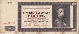 BILLETE DE CHECOSLOVAQUIA DE 500 KORUN DEL AÑO 1942 (BANKNOTE) - Tchécoslovaquie