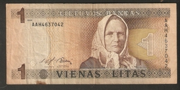 T. Lithuania Banknote 1 Vienas Litas 1994 AAH4637042 - Lithuania
