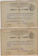 VP12.460 - PARIS X MEAUX 1938 - Société Générale - Dépot De Titres X 2 - Mr BEAUFOURT à CROUY SUR OURCQ - Bank & Insurance