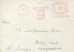 35233 Germany Reich, Red Meter/freistempel/ema/ Hamburg 1932 J.j. Darboven Coffee From Sumatra,celebes Timor,java - Deutschland