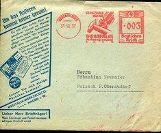 35235 Germany Reich, Red Meter/freistempel/ema/hagen 1937 Westfalia Werkzeug Co. - Germany
