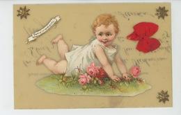 """ENFANTS - Jolie Carte Fantaisie CELLULOID Avec Ajoutis Bébé Et Ruban """"Remerciements """" - Kinder-Zeichnungen"""