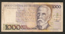 T. Brazil Banco Central Do Brasil 1000 Mil Cruzados Ser. A 0213002675 A Machado De Assis - Brazilië