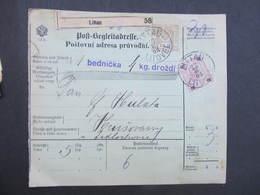 Postbegleitadresse Littau Litovel - Hrusovany 1903 Paketschein  ////  D*32806 - Briefe U. Dokumente