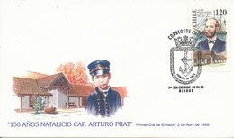 Chile FDC Cap. Arturo Prat 3-4-1998 With Cachet - Chile