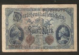 T-v13. Germany German Empire Darlehenskassenschein 5 MARK 1914 Berlin - 7 Digital Serial P 7089678 - 5 Mark