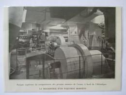 1931-Groupe Machine Moteurs Machinerie - Pont Supérieur Paquebot ATLANTIQUE - Coupure De Presse Originale (Encart Photo) - Tools