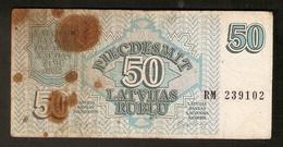 T. Latvia 50 Latvijas Rublu Rubles Rubel 1992 # RM 239102 - Latvia