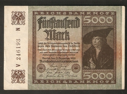 T. Germany Weimar Republic Reichsbanknote 5000 Mark Funftausend 1922 V 246193 N - [ 3] 1918-1933 : Weimar Republic