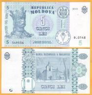 2017 2015  Moldova ; Moldavie ; Moldau    5 LEI   549536 UNC - Moldova