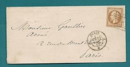 Paris - Bureau De Quartier J Losange Sur YT 13. Lettre Locale - 1849-1876: Période Classique