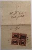 Regno D' Italia 1878 Sa. 35 BLOCCHI DI QUATTRO Fascetta Per Stampati > Firenze (lettera Italy  Wrapper Cover - Marcophilia