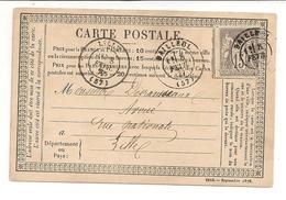 CARTE POSTALE PRECURSEUR / 1877 - France