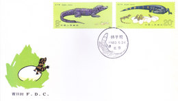 CHINA : FIRST DAY COVER, 24-05-1983 : CHINESE ALLIGATORS - SPECIAL STAMPS : REPTILE, CROCODILE, NATURE, WILDLIFE - 1949 - ... People's Republic