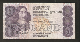 T. South African Reserve Bank Five VYF 5 RAND Suid Afrikaanse # B3 25 760886 - South Africa