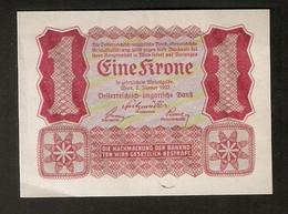 T. Austria Eine 1 Krone 1922 Osterreichisch Ungarische Bank Osterreich Banknote - Austria