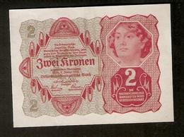 T. Austria Zwei 2 Kronen 1922 Osterreichisch Ungarische Bank Osterreich Banknote - Austria