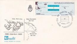 FDC ISLAS MALVINAS, GEORGIAS DEL SUR Y SANDWICH DEL SUR. OBLITERE MENDOZA 1983. ILES MALOUINES MALVINAS- BLEUP - Falkland Islands