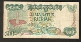 T. Bank Indonesia Banknote 500 Rupiah 1982 Lima Ratus Direksi # TVQ072788 - Indonesia