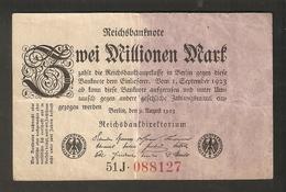 T. Germany Weimar Republic Reichsbanknote Zwei 2 Millionen Mark 2,000,000 1923 # 51J 088127 - 2 Millionen Mark