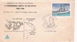 X ANIV GESTA ISLAS MALVINAS, GEORGIAS DEL SUR Y SANDWICH DEL SUR 1982-1992. ILES MALOUINES MALVINAS- BLEUP - Falkland Islands