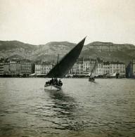 France Toulon Le Port Panorama Voilier Ancienne Photo Stéréo SIP 1900 - Stereoscopic