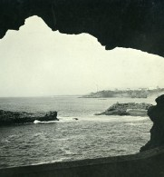 France Biarritz La Loge Grotte Ancienne Photo Stéréo CPS 1900 - Stereoscopic