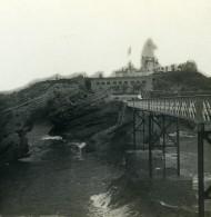 France Biarritz Le Sémaphore Roche Percee Ancienne Photo Stéréo CPS 1900 - Stereoscopic