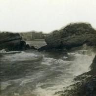 France Biarritz Les Rochers Et La Plage Ancienne Photo Stéréo CPS 1900 - Stereoscopic